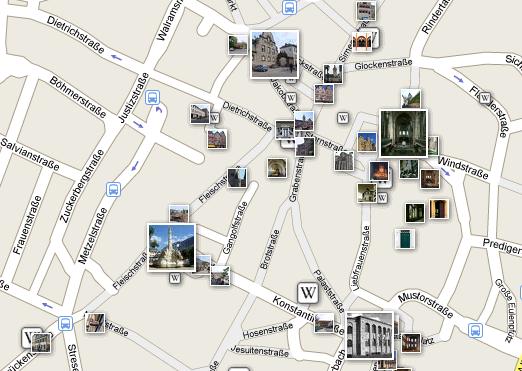Google Maps mit Fotos und Wikipediaartikeln